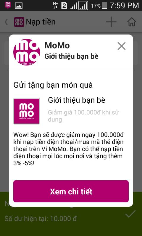 nhận 100k quà tặng của momo