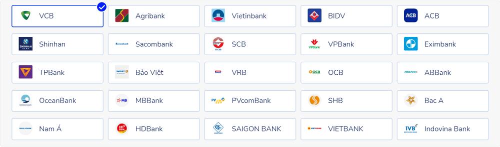 các ngân hàng liên kết Momo