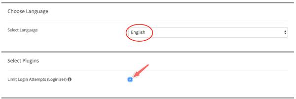 lựa chọn ngôn ngữ wordpress