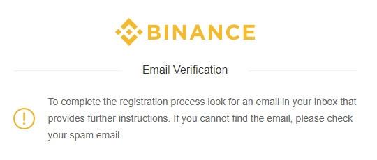 xác nhận đăng ký Binance