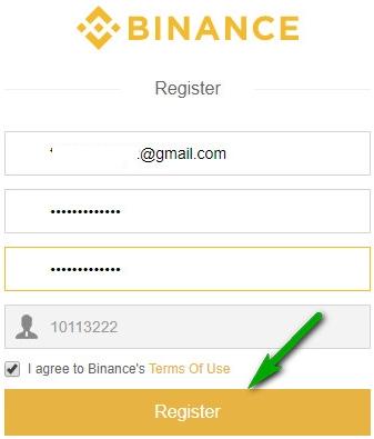 điền thông tin đăng ký binance