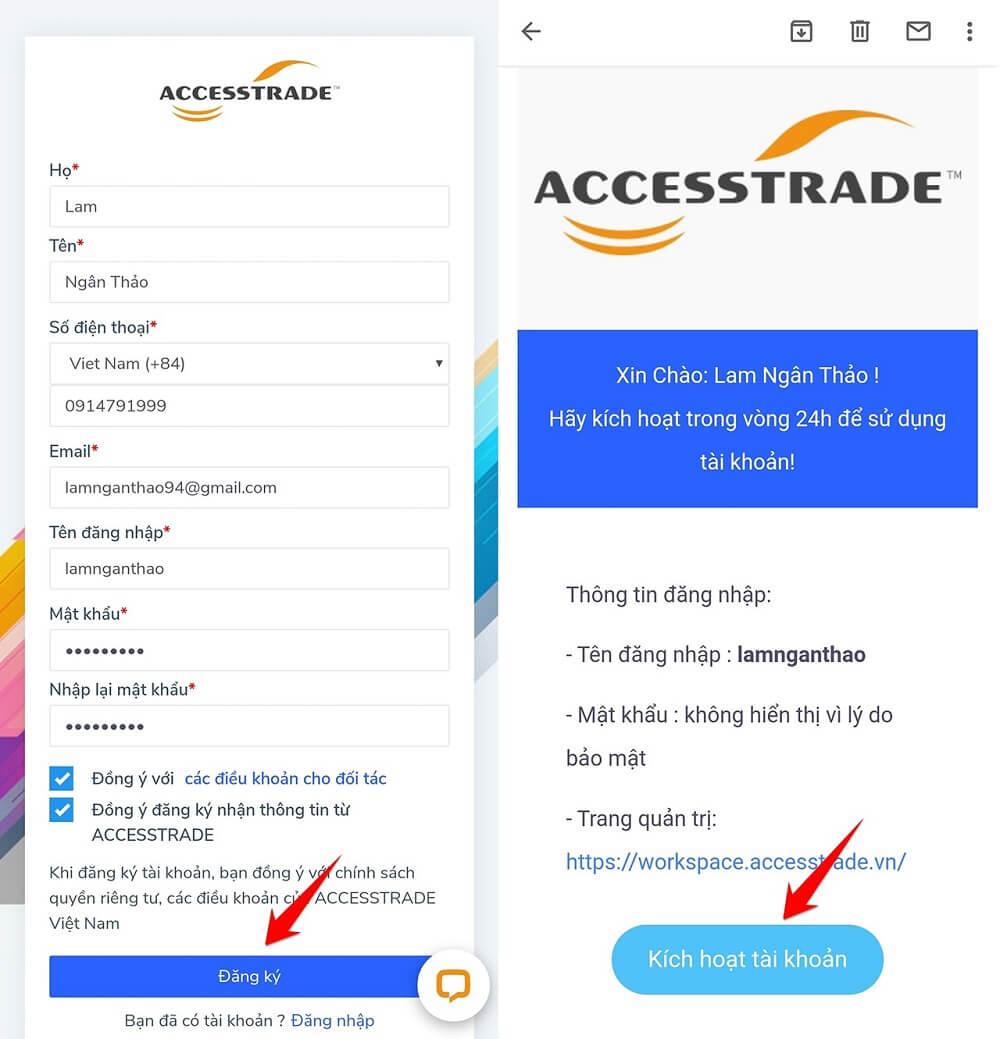 đăng ký tài khoản accesstrade