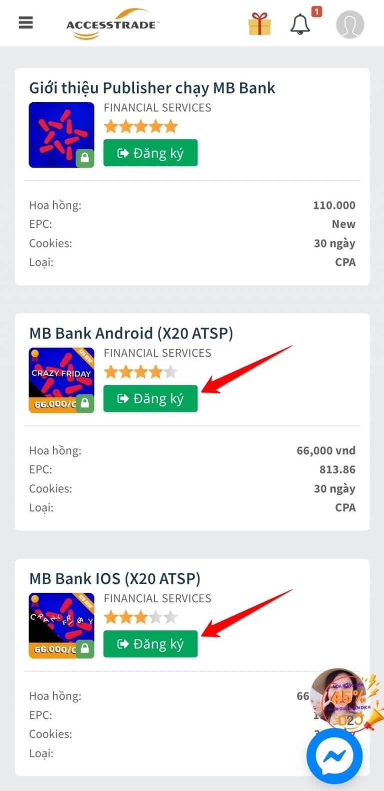 tạo link chiến dịch mb bank